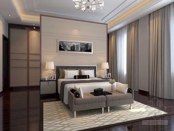 vr材质下载资料下载-宽敞卧室3D模型下载