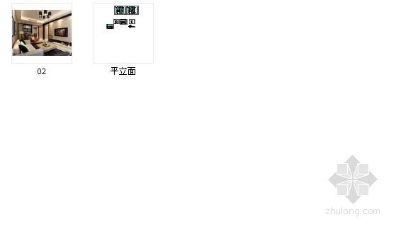 [浙江]现代风格两居室装修施工图(含效果图) 总缩略图