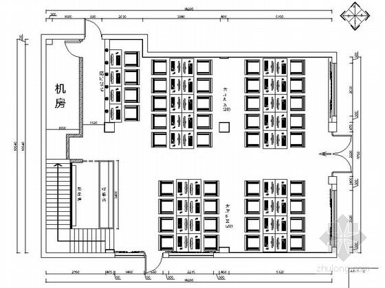 [原创]320平米简约时尚风格网吧装修CAD施工图