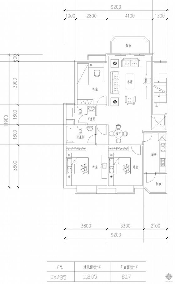 板式高层三室一厅单户户型图(112)
