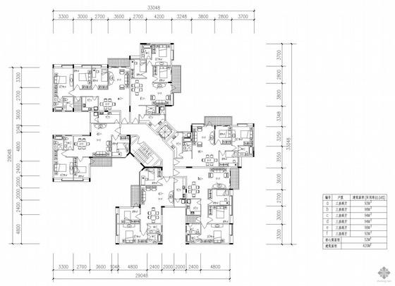 塔式多层一梯六户户型图(92/98/94/94/98/92)