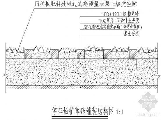 停车场植草砖铺装结构图