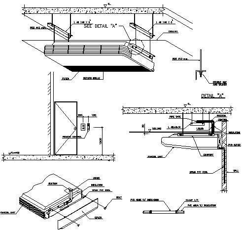 明装吊顶式空调室内机安装大样图