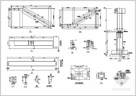 两跑钢楼梯构造详图