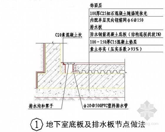 地下室底板及排水板节点做法详图