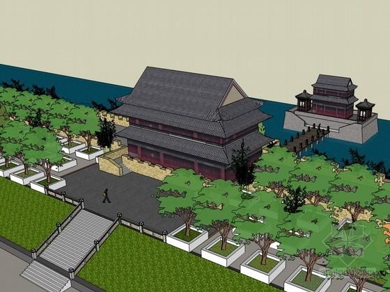 古城楼建筑效果图SketchUp模型