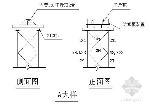 桥梁拱桥缆索吊装少支架施工支架构造图
