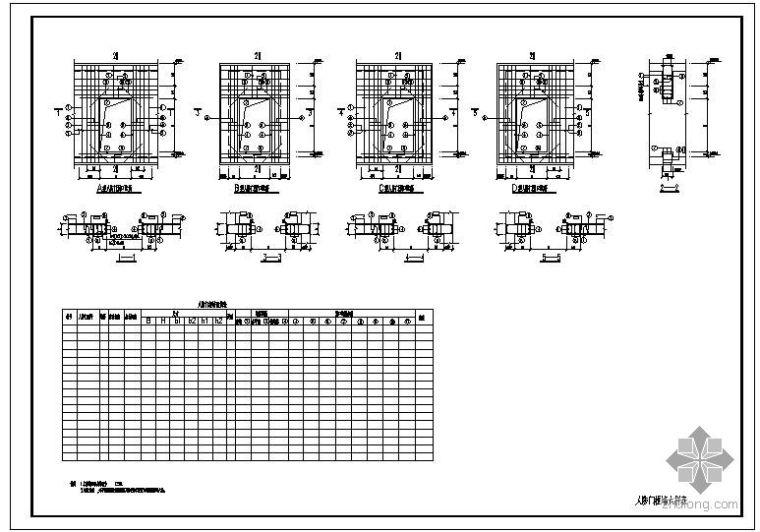 某人防门框墙大样表节点构造详图