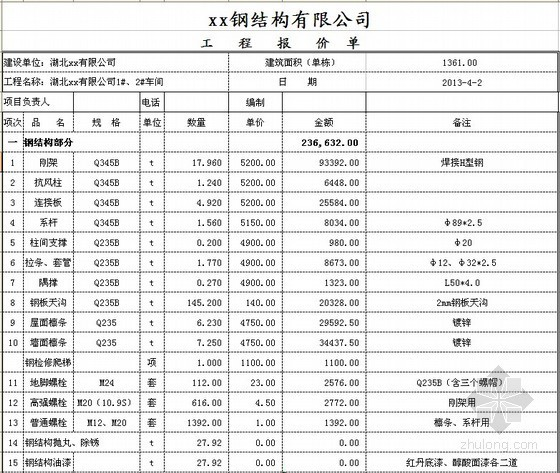 [湖北]2013年钢结构厂房工程报价实例