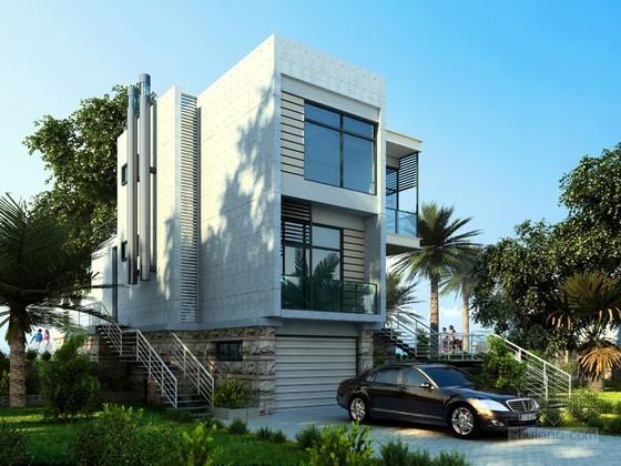 现代白色别墅建筑3D模型