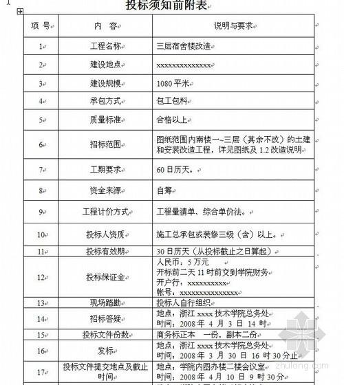 浙江某学院三层宿舍楼改造招标文件(2008-03)