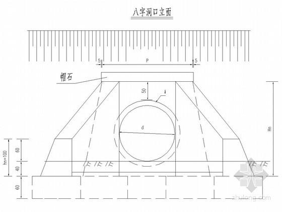 钢筋砼圆管涵正交八字洞口构造图(含工程数量表)