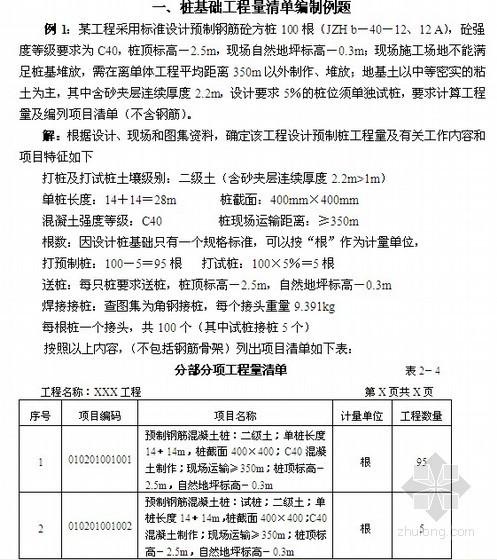 桩基础工程量清单编制实例(8套)