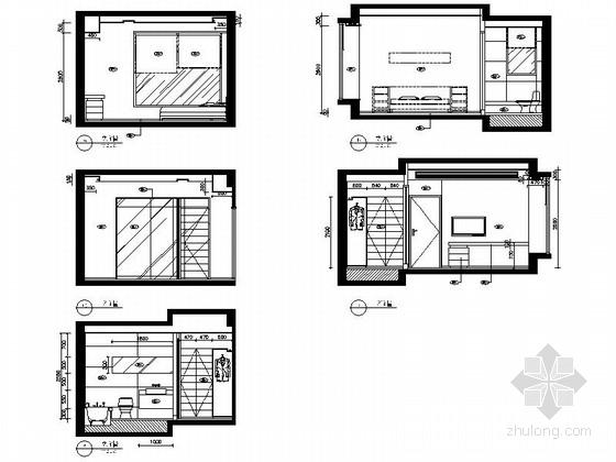 [广东]名师设计多层住宅区C型高档现代四居室装修施工图主人睡房立面图