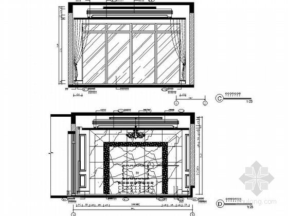 [成都]北美风格三层别墅样板间室内装修图(含方案文本)客厅立面