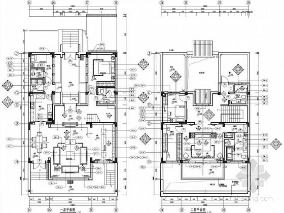 [山东]新中式徽派住宅C型两层别墅样板房装修设计方案