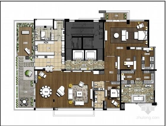 精品高档现代风格一层别墅室内装修设计方案