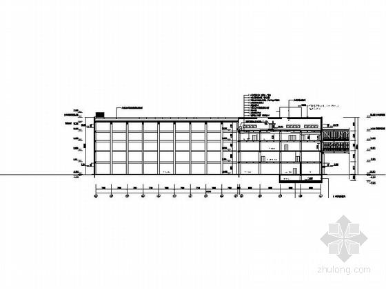 [上海]5层现代风格知名企业辅助厂房设计施工图(图纸精细值得参考)-5层现代风格知名企业辅助厂房剖面图