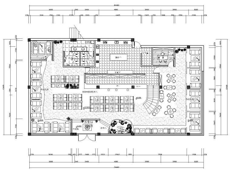 现代极简风格西餐厅装修全套CAD施工图(附效果图)
