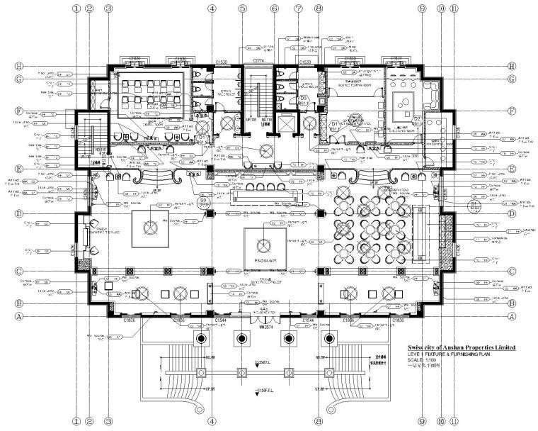 [辽宁]科林瑞城御园办公空间装修设计施工图+效果图