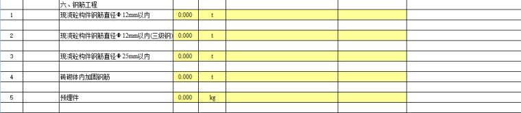 土建工程量计算表格(实用版)