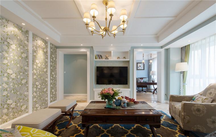 海尔绿城御园143平美式风格装修设计案例|万泰装饰
