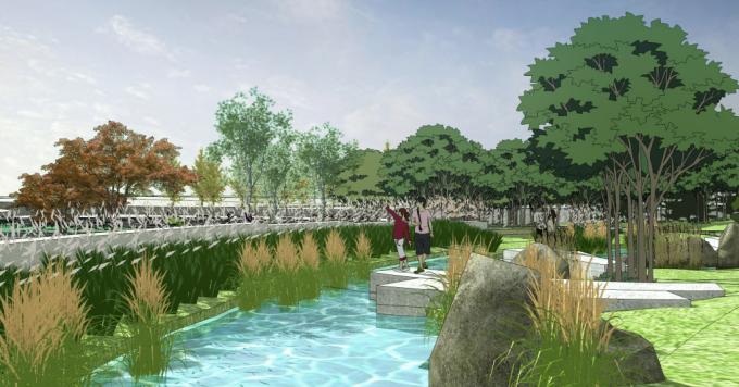 [安徽]生态人文气息流线型山体高差森林公园景观设计方案-滨水景观效果图