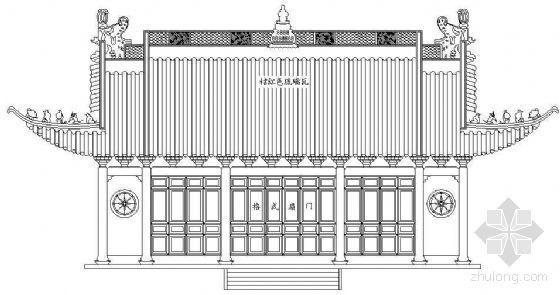 某古建庙宇立面图