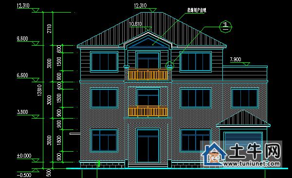三层带车库农村自建房设计图纸图片