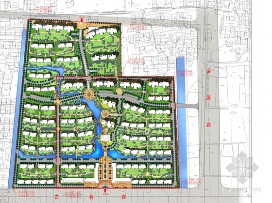 [江苏]生态型西班牙风格住宅区规划设计方案文本-生态型西班牙风格住宅区规划设计总平面图