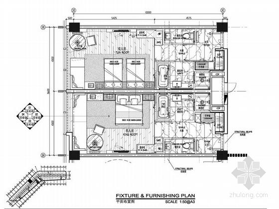 [深圳]某五星级机场酒店室内设计方案图 客房平面