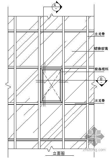 某吊挂式玻璃幕墙节点构造详图(七)(立面图)