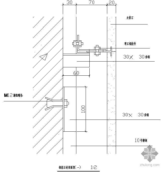 某钢挂石材剖面节点构造详图(一)