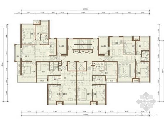 [沈阳]某高档住宅一梯四户型平面图(110、85平方米)