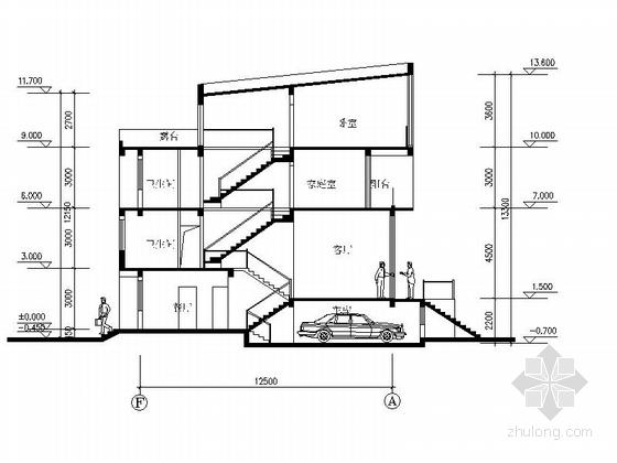 [上海]高档板式住宅楼建筑设计方案图-高档板式住宅楼建筑剖面图