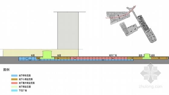 [内蒙古]地下空间商业建筑概念设计方案文本-地下空间商业建筑剖面图