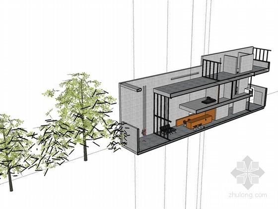 现代住宅剖面SketchUp模型下载