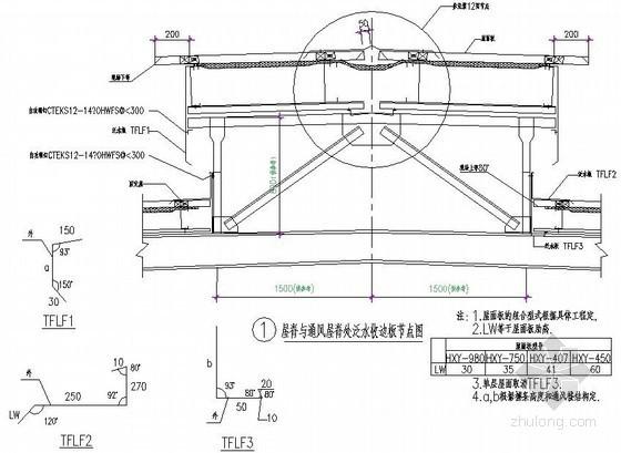 压型钢板屋面屋脊与通风屋脊处泛水收边板节点详图