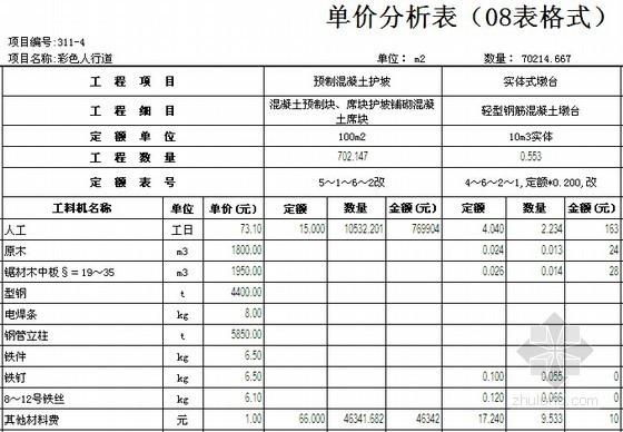 [江苏]高速公路改造工程量清单报价实例(附同望预算文件)-单价分析表