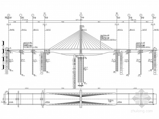 跨径90m独塔双索面斜拉桥全套施工图(159张 附计算书装饰说明)