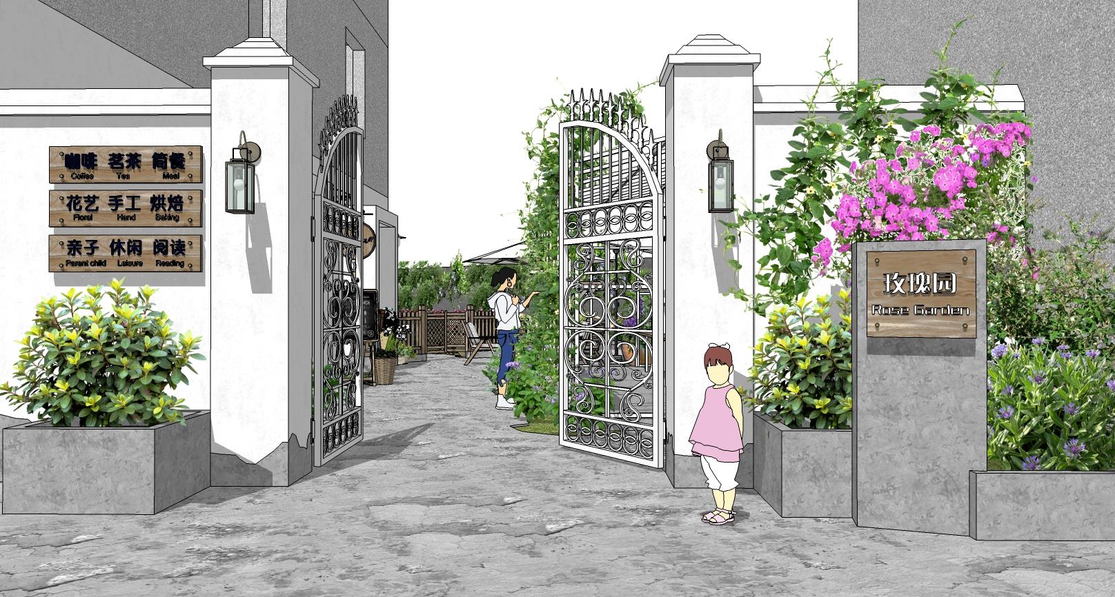 民宿花园景观su模型——入口大门