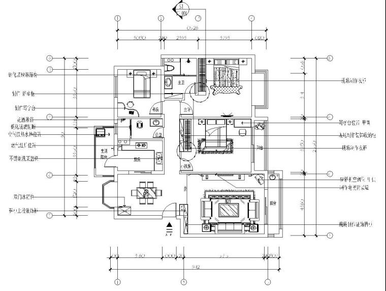 欧式风格三居室施工图设计及效果图