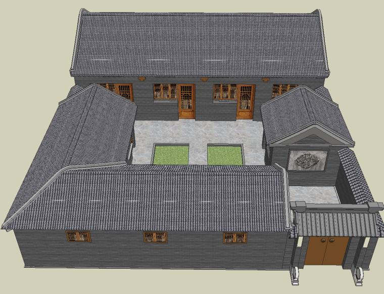 中式古建四合院模型su模型_2