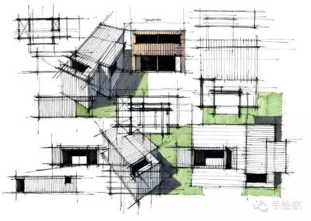 百年经典建筑设计手绘图_32