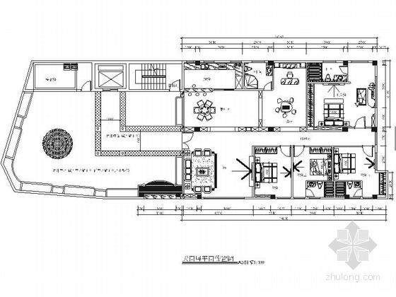 豪華現代風格四居室家居室內裝修施工圖