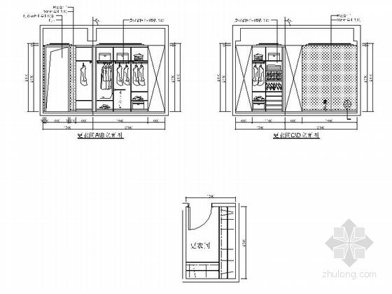 [福州]名事务所大四居样板间室内装修图 更衣间立面