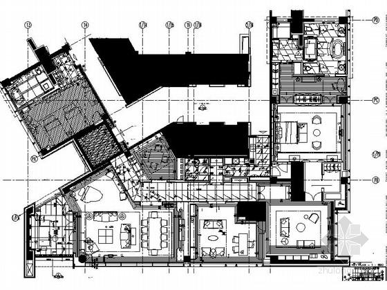 [深圳]五星级奢华商务酒店顶级总统套房室内设计cad施工图