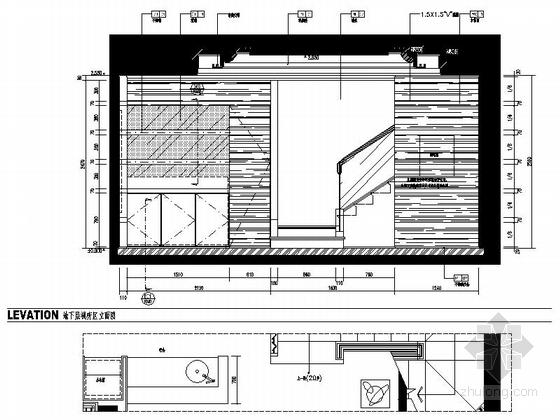 [浙江]某公馆时尚简欧三层别墅装修图(含效果)视听室立面图