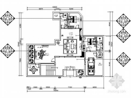 [广东]某三层别墅装饰工程室内设计CAD施工图