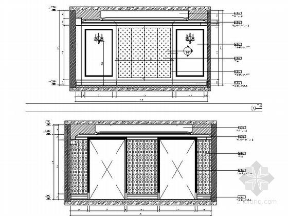 精品现代三层别墅样板间室内装修施工图主卧立面图